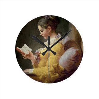 若い女の子の読書、c.1776 ラウンド壁時計
