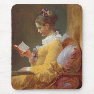 若い女の子の読書、J. Fragonard著読者 マウスパッド