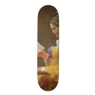 若い女の子の読書、J. Fragonard著読者 18.4cm ミニスケートボードデッキ