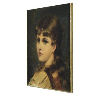 若い女の子(パネルの油)のポートレート キャンバスプリント