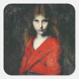 若い女の子、Shivererのポートレート スクエアシール