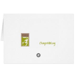 若い女性のチンパンジーの食べ物の雪-空白のなカード カード
