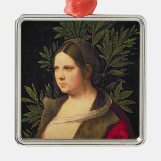 若い女性のポートレート、1506年 メタルオーナメント