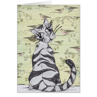 若い女性猫01 カード