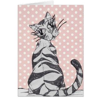 若い女性猫02 カード