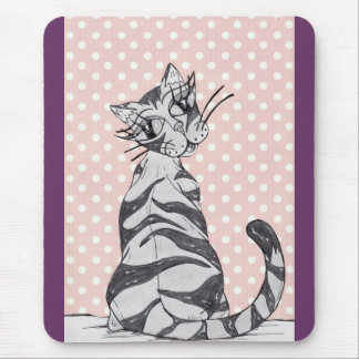 若い女性猫02 マウスパッド