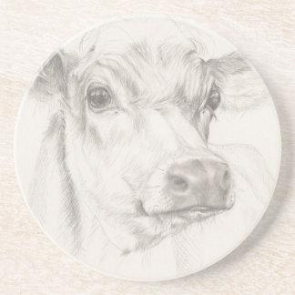 若い牛のスケッチ コースター