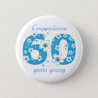 若い誕生日のお祝いボタン60年の 5.7CM 丸型バッジ