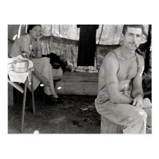 若い農場Couple 1939年 ポストカード