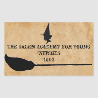 若い魔法使いのためのサレムアカデミー 長方形シール