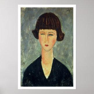 若いBrunette 1917年(キャンバスの油) ポスター