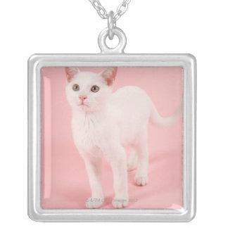 若く白い猫2 シルバープレートネックレス
