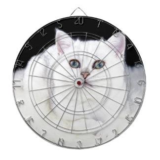 若く黒い銀は白い毛皮にあっている猫を影で覆いました ダーツボード