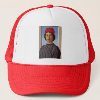 若者のサンドロBotticelli-のポートレート、赤い帽子 キャップ