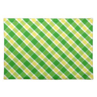 若草色および黄色い格子縞パターンランチョンマット ランチョンマット