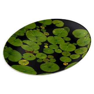若草色のスイレンの浮いている葉 磁器プレート