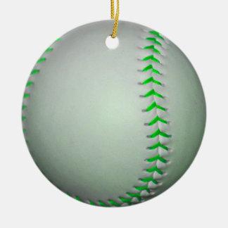 若草色のステッチの野球 セラミックオーナメント