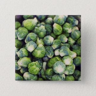 若草色の新しい芽キャベツ 5.1CM 正方形バッジ