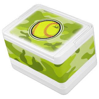 若草色の迷彩柄、カムフラージュのソフトボール イグルークーラーボックス