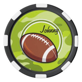 若草色の迷彩柄、カムフラージュのフットボール ポーカーチップ
