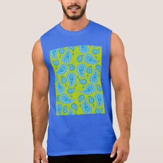 若草色の青いペイズリー 袖なしシャツ