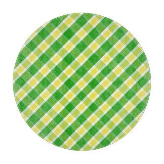 若草色の黄色い格子縞パターンまな板 カッティングボード