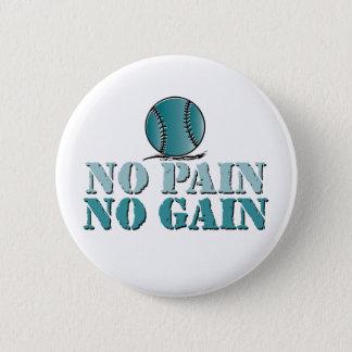 苦痛無し、利益無し-ソフトボールまたは野球(ティール(緑がかった色)) 5.7CM 丸型バッジ