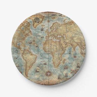 苦脳のヴィンテージのアンティークによって描かれる世界地図 ペーパープレート