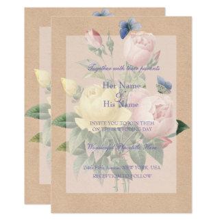英国のばら色の庭園の結婚式の招待状 12.7 X 17.8 インビテーションカード