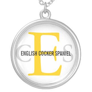 英国のコッカースパニエルのモノグラムのデザイン シルバープレートネックレス