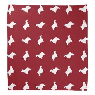 英国のコッカースパニエルはパターン赤のシルエットを描きます ハンカチーフ