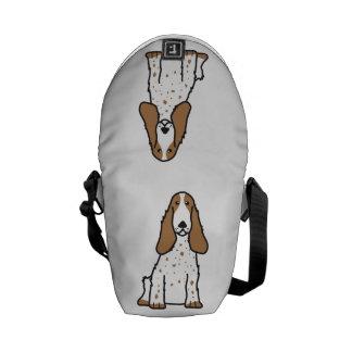 英国のコッカースパニエル犬の漫画 クーリエバッグ