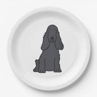 英国のコッカースパニエル犬の漫画 ペーパープレート