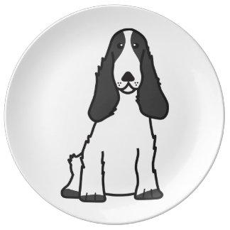 英国のコッカースパニエル犬の漫画 磁器プレート