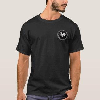 英国のサクソンの黒く及び白いシールのワイシャツ Tシャツ