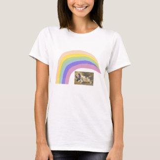 英国のスプリンガースパニエルのアヒルの虹のTシャツ Tシャツ