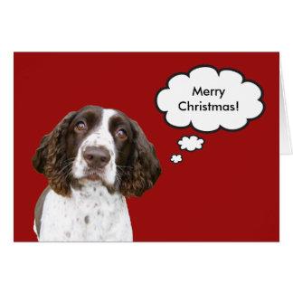 英国のスプリンガースパニエルのクリスマスカード カード