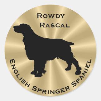 英国のスプリンガースパニエル犬のシルエット ラウンドシール