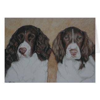 英国のスプリンガースパニエル犬の芸術の挨拶状 カード