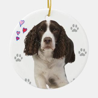 英国のスプリンガースパニエル犬 セラミックオーナメント