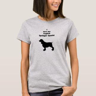 英国のスプリンガースパニエル、手描きのSilhoutte Tシャツ