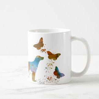 英国のセッターおよび蝶 コーヒーマグカップ