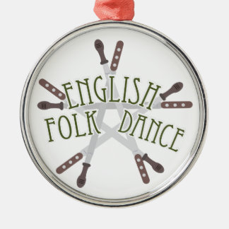 英国のフォークダンス シルバーカラー丸型オーナメント
