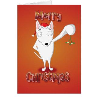 英国のブルテリア-ヤドリギ-メリークリスマス カード