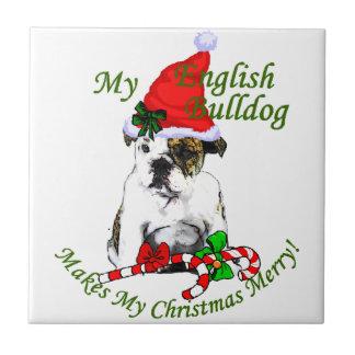 英国のブルドッグのクリスマス タイル