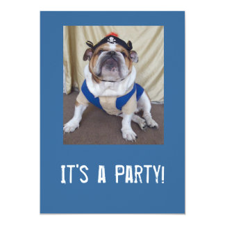 英国のブルドッグのパーティの招待状 カード