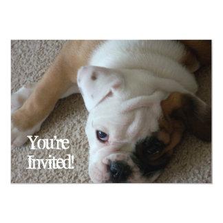 英国のブルドッグの子犬の招待状の誕生日occ カード