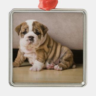 英国のブルドッグの子犬 メタルオーナメント