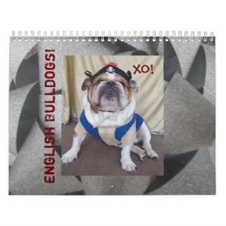 英国のブルドッグ及び子犬のカレンダー! カレンダー