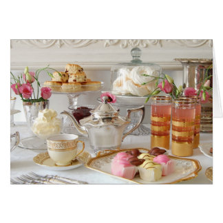 英国の午後のお茶、Scones、フォンダンの空想 カード
